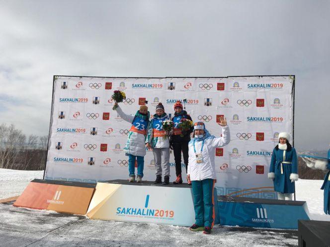 Анастасия Гришина - победительница соревнований I зимних Международных спортивных игр «Дети Азии» по биатлону