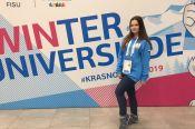 Студентка Алтайского медицинского университета Екатерина Шелехова работает волонтером на Всемирной зимней универсиаде в Красноярске