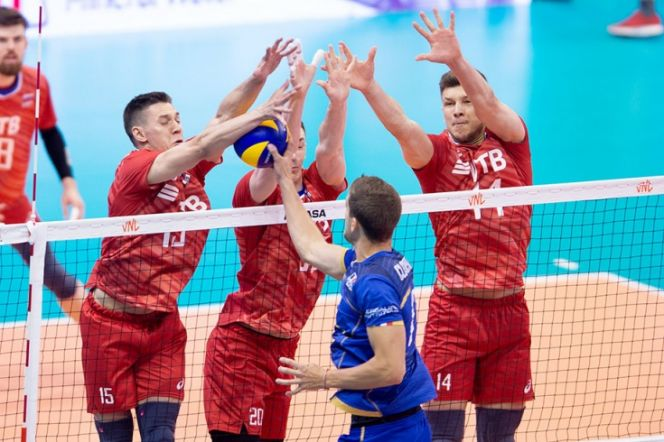 Фрагмент матча Россия - Франция. Фото: volleyball.world