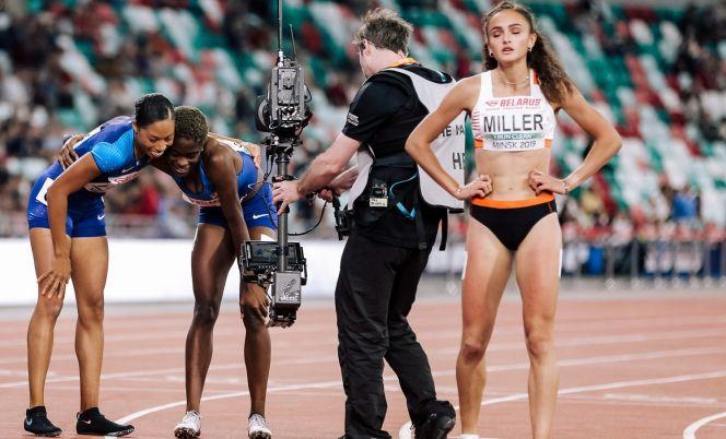 На фото http://europe-usa.com: на матчевой встрече Европа - США Полина Миллер впервые соперничала с олимпийскими чемпионками