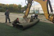 На базе футбольной спортшколы «Динамо» по проспекту Ленина, 152-а начались работы по замене искусственного поля