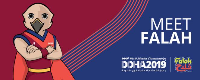 На фото: талисман чемпионата мира по легкой атлетике в Катаре сокол Фалах